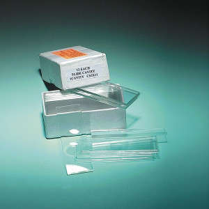 "Thick 3"" x 1"" Glass Microscope Slides, 3.2mm, 2 concavities, pk/12"