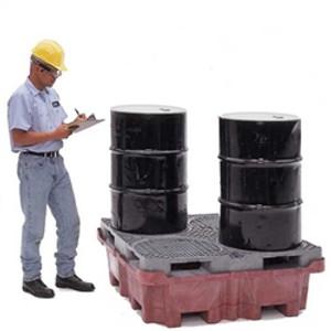 Super Drum Spill Pallet, Drain, 4-Drum Spill King, 85 gal sump