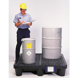 Drum Spill Pallet P4 Economy Model, Drain, Black, 4-Drum