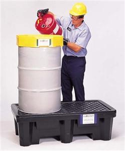 Drum Spill Pallet P2, Economy Model, Drain, Black, 2-Drum
