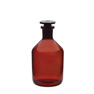 WHEATON® 250mL Glass Reagent Bottles, Amber, Ground Stopper, case/10