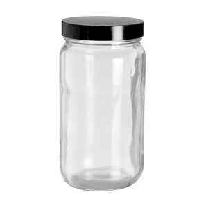 WHEATON® Safety Coated Clear WM Glass Bottles, 16 oz, Black Phenolic Vinyl Lined Caps, case/12