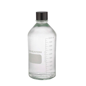 WHEATON® 1000mL Media Bottles, Borosilicate Glass, PTFE Lined Caps, case/24