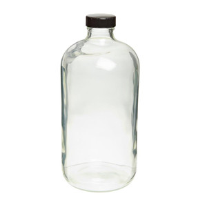 WHEATON® Safety Coated Clear Glass Bottles 32 oz, Poly Lined Screw Caps, case/12