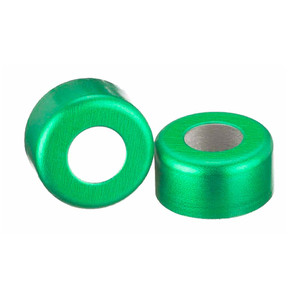 WHEATON® 11mm Crimp Seal Open Top Hole Caps, Aluminum Green, Unlined, case/1000