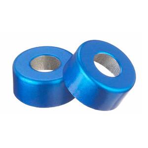 WHEATON(R) 13mm Crimp Seal Open Top Hole Caps, Aluminum Blue, Unlined, case/1000