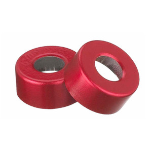 WHEATON® 13mm Crimp Seal Open Top Hole Caps, Aluminum Red, Unlined, case/1000