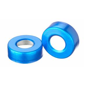 WHEATON® 20mm Crimp Seal Open Top Hole Caps, Aluminum Blue, Unlined, case/1000