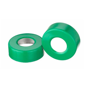 WHEATON® 20mm Crimp Seal Open Top Hole Caps, Aluminum Green, Unlined, case/1000