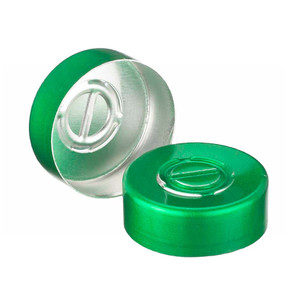 WHEATON® 20mm Crimp Seal, Center Tear-Out, Aluminum Green, Unlined, case/1000