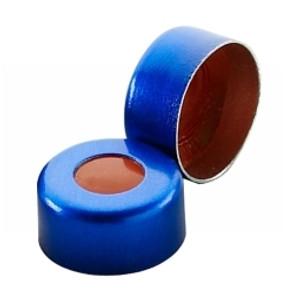 WHEATON® 11mm Crimp Seal, Aluminum Blue, PTFE/Red Rubber, case/1000