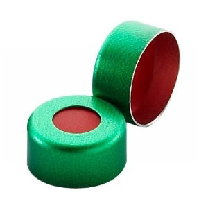WHEATON® 11mm Crimp Seal, Aluminum Green PTFE/Red Rubber, case/1000