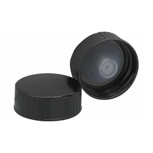 WHEATON® 28-400 Black Phenolic Caps, Leakproof Cone-Shaped Insert, case/100