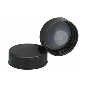 WHEATON® 33-400 Black Phenolic Caps, Leakproof Cone-Shaped Insert, case/100