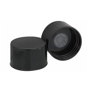 WHEATON® 38-430 Black Phenolic Caps, Leakproof Cone-Shaped Insert, case/100