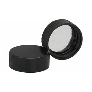 WHEATON® 28-400 Black Phenolic Caps, Foil Liner, case/100