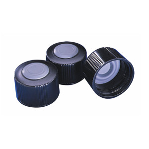 WHEATON® 33-430 Black Phenolic Caps, Hole Cap, Butyl Septa, case/100