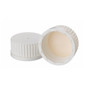 WHEATON® 45mm PP Caps, White, Bonded, PTFE Liner, case/12