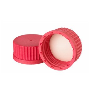 WHEATON® 45mm Caps, Red Autoclavable PBT, PTFE Liner, case/10