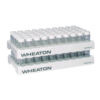 WHEATON® 50 Position Polypropylene Vial Rack, 28.1mm Diameter Holes, case/5