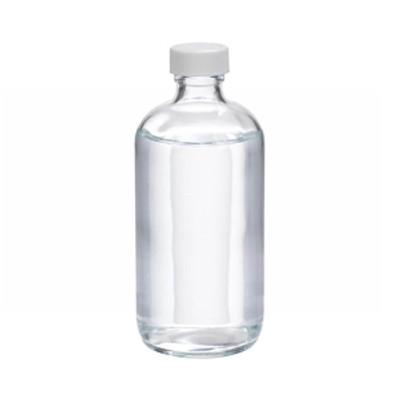 WHEATON(R) 8 oz Clear Glass Boston Round Bottles, 24-400 Poly Vinyl Liner Bulk, case/108