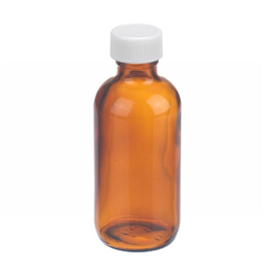 WHEATON(R) 2 oz Amber Glass Boston Round Bottles, PP Caps, PTFE Liner, case/24