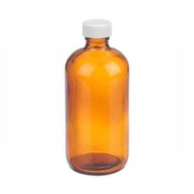 WHEATON® 8 oz Amber Glass Bottles, PP Caps, PTFE Liner, case/12