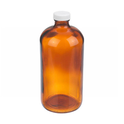 WHEATON® 32 oz Amber Glass Boston Round Bottles, PP Caps, PTFE Liner, case/12