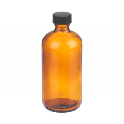 WHEATON® 8 oz Amber Glass Boston Round Bottles, Rubber Lined Caps, case/12