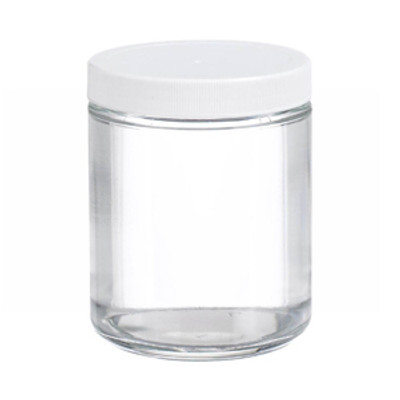 WHEATON® 8 oz Glass Jars, Straight Side Clear, PP/PTFE Liner, case/12