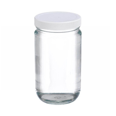 WHEATON® 32oz Glass Jars, Straight Side Clear, PP/PTFE Liner, case/12