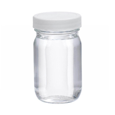 WHEATON® 4oz Clear Glass Wide Mouth Packer Bottles, PTFE Lined PP Caps, case/24