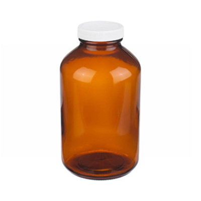 WHEATON® 32 oz Amber Wide Mouth Packer Bottles, Vinyl Lined Caps, case/12