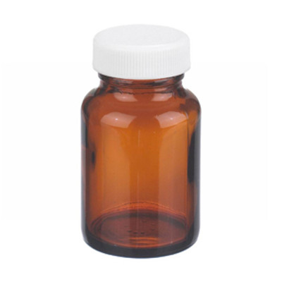WHEATON® 2 oz Amber Wide Mouth Packer Bottles, PP/PTFE Lined Caps, case/24