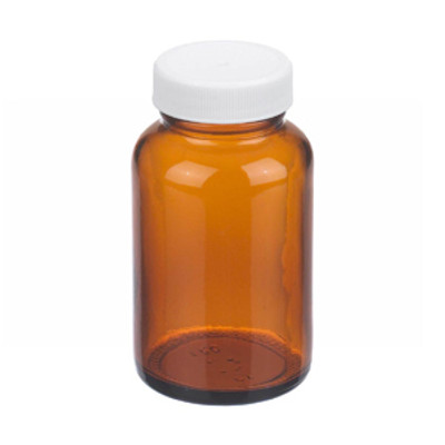 WHEATON(R) 4 oz Amber Wide Mouth Packer Bottles, PP/PTFE Lined Caps, case/24