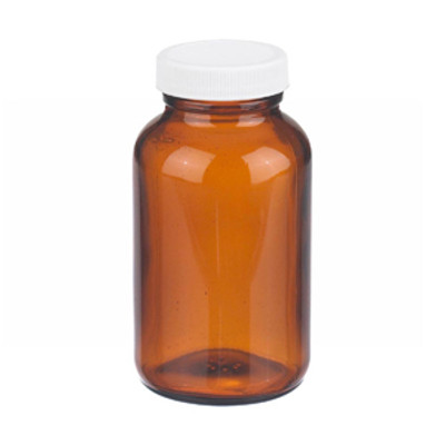 WHEATON® 8 oz Amber Wide Mouth Packer Bottles, PP/PTFE Lined Caps, case/24
