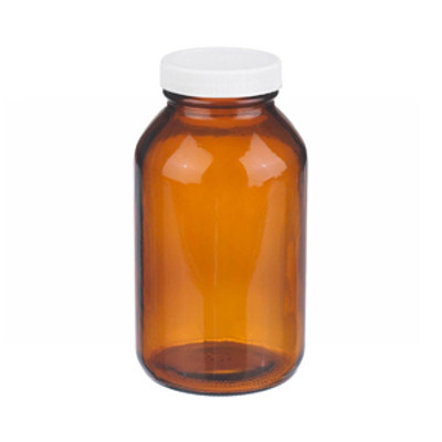 WHEATON® 16 oz Amber Wide Mouth Packer Bottles, PP/PTFE Lined Caps, case/12