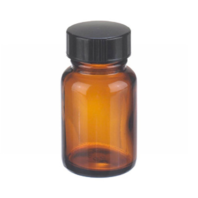 WHEATON® 1 oz Amber Wide Mouth Packer Bottles with Cone Lined Caps, case/24