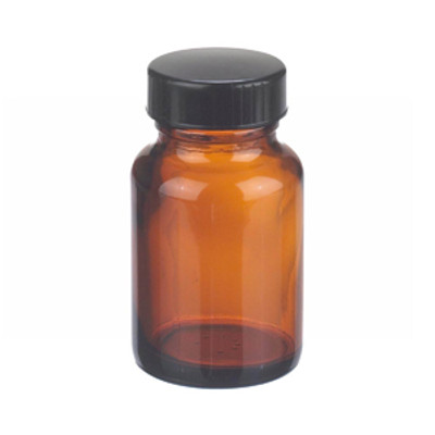 WHEATON® 2 oz Amber Wide Mouth Packer Bottles with Cone Lined Caps, case/24