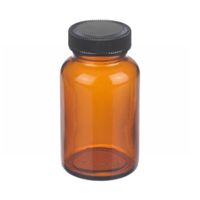 WHEATON(R) 4 oz Amber Wide Mouth Packer Bottles with Cone Lined Caps, case/24