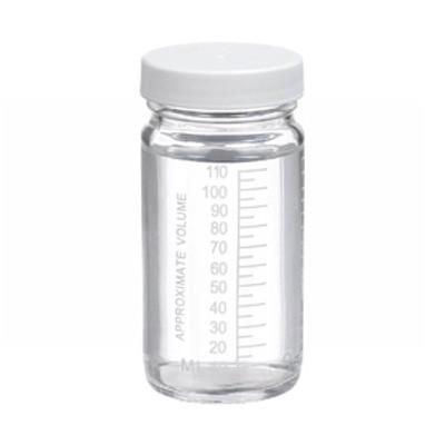 WHEATON® 4 oz Graduated Glass Volumetric Bottles, Vinyl Lined PP Caps, case/24
