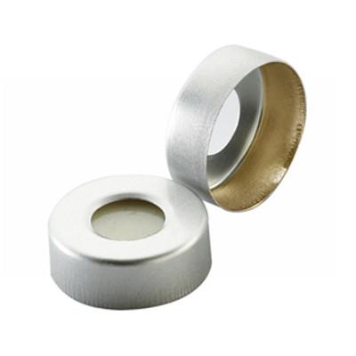 WHEATON® 20mm Hole Caps for Headspace Vials, Pressure Release, PTFE/Silicone Septa, case/100