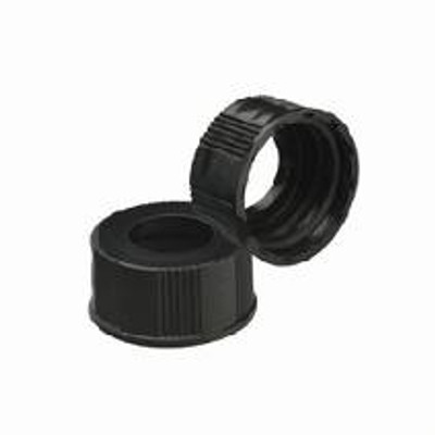 WHEATON® 24-400 Black Open Top Hole Caps, No Septa, Phenolic, case/200