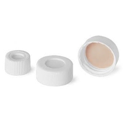 WHEATON® 24-400 Open Top PP Caps, White, PTFE/Silicone Liner .060, case/100