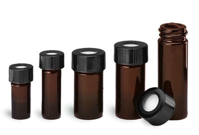 WHEATON® 1mL Amber Borosilicate Glass V-Vials, 13-425, PTFE Lined Hole Cap, case/12