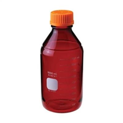 Graduated Pyrex® Media Bottle, 2,000mL, Low Actinic, GL-45, case/4
