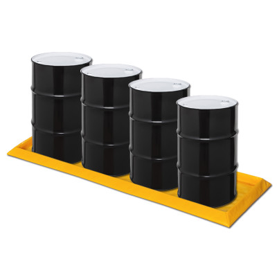 "Eagle® 4-Drum Inline SpillNest Spill Containment, 32.25"" x 107.75"", 30 Gal, Yellow"