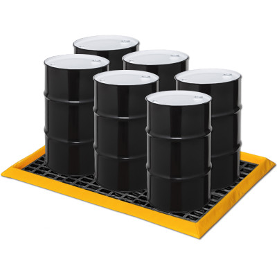 """Eagle® 6-Drum SpillNest Spill Containment with 3 Grates, 57.5"""" x 83"""", 45 Gal, Yellow"""
