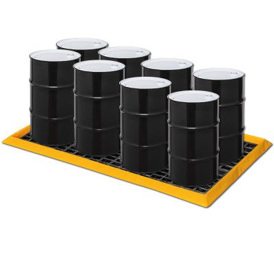 """Eagle® 8 Drum SpillNest Spill Containment with 4 Grates, 57.5"""" x 108.5"""", 60 Gal, Yellow"""