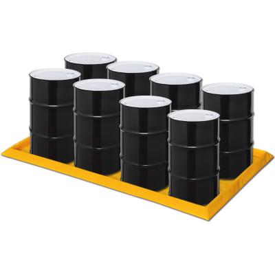 "Eagle® 8 Drum SpillNest Spill Containment, 57.5"" x 108.5"", 60 Gal, Yellow"